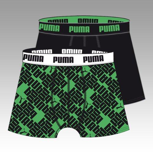 PUMA Boxer da Uomo Diagonal Allover 2P, Uomo, Verde/Nero, S