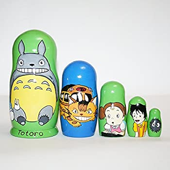 Collectible nesting dolls Totoro matryoshka russian doll signed hand-painted