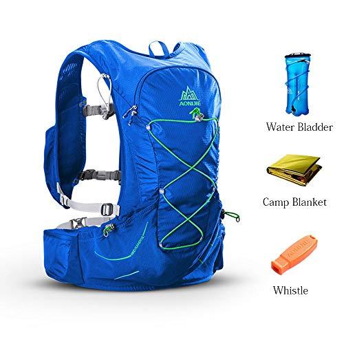 Yhjkvl Sac à Dos de Vélo Sac à Dos d'hydratation résistant à l'eau avec Une vessie d'eau/Une Couverture de Camp/Un sifflet Parfaits, sans BPA Sac de Bicyclette (Color : Blue, Size : 52 * 30cm)