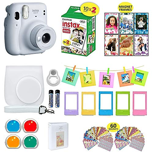 Fujifilm Instax Mini 11 Instant Camera Ice White + Shutter Carrying Case + Fuji Instax Film Value Pack (20 Sheets) + Shutter Accessories Bundle, Color Filters, Photo Album, Assorted Frames