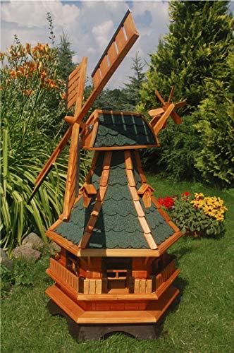 Deko-Shop-Hannusch Moulin à vent décoratif avec roulement à billes et illumination via énergie solaire Tuiles en asphalte vertes 1,3 m