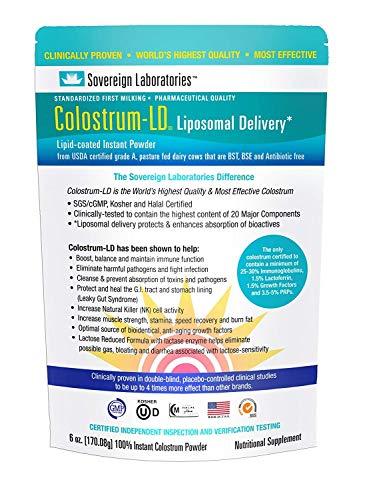 Colostrum-LD Liposomal Delivery - Colostrum Powder - Gluten-Free, Lactose-Reduced - 34 Servings - Sovereign Laboratories - 6 oz Plain