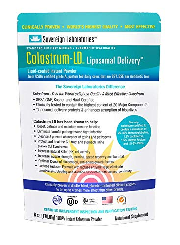 Organic Colostrum-LD Powder with Proprietary Liposomal Delivery (LD) Technology for up to 1500% Better Bioavailability Than Regular Bovine Colostrum (Plain, 6 Ounce)