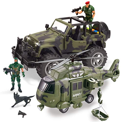 JOYIN 2 Pack Friction Powered Realistic Military Vehicle Car Set Including Convertible Military Truck, Helicopter, Army Men Action Figures and Accessories, Lights and Sounds Sirens