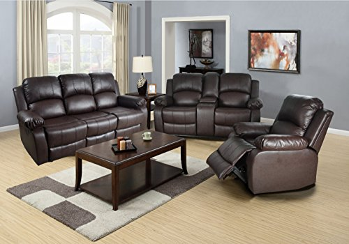 Lifestyle Furniture 3-Pieces Reclining Living Room Sofa Set,Drop Down Table,Bonded Leather,Brown(LS2890-3PC)