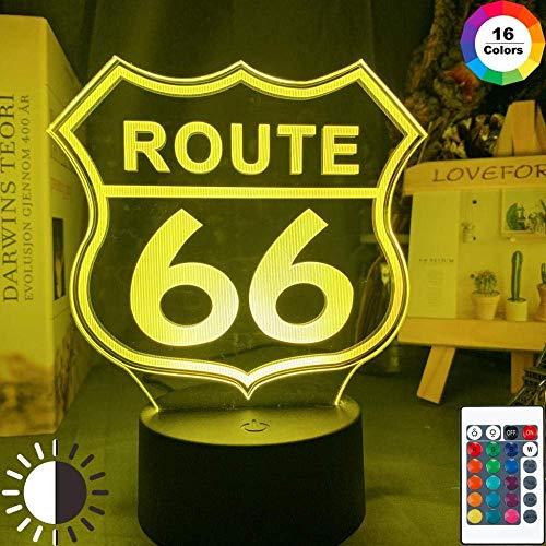 Festival Lámpara de Ilusión 3D Luz Nocturna Led Ruta 66 para Decoración Del Hogar Gadget Will Rogers Highway Habitación para Niños Ruta de la Madre Lámpara de Mesa Regalo Lámpara para Dormir para Niño
