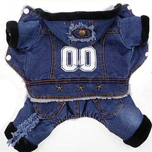 Herfst winter Pet jeans denim kleding hooded jumpsuit slabbroek kleding voor honden dikte vier poten pet coat jacket, XS