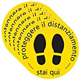 HINK Marqueur de Sol Proteggere Il Distanziamento Stai Qui Signe 300Mm X300Mm Avis Autocollant 5 pièces Maison et Jardin Stickers muraux