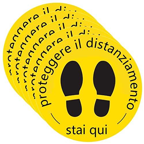 Segnaletica adesiva di sicurezza da pavimento per il distanziamento sociale Covid-19, distanza di 2 m, 30 cm x 30 cm, confezione da 5 pezzi