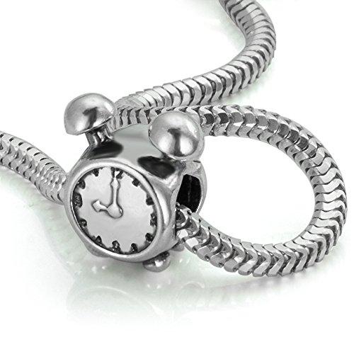 Hochwertiger Original 925 Sterling Silber Bead für Armbänder -Wecker Uhr Element#b478