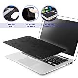 Insten 3-in-1 Multi-Functional Microfiber Mouse Pad for Notebook Netbook up to 12.5 inches, Non-Slip Mouse Mat/Monitor Protection & Cleaning All in One, Black