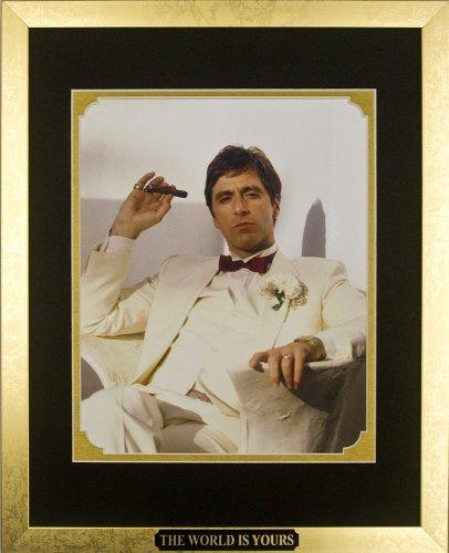 Scarface Movie Memorabilia Al Pacino as Tony Montana with Cigar Framed Movie Photo with Plate Custom Made Real Wood Modern Gold Frame (12 1/2 x 15 1/2')