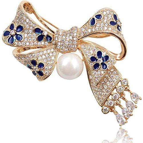 SSMDYLYM Broche de circón Micro Pave broches del Arco de Las Mujeres del Bowknot Exquisito con Broche de la Boda Colgante del Pin