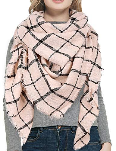Warm Women Blanket Scarf Oversized Tassel Tartan Wrap Shawl Plaid Cozy Checked Pashmina