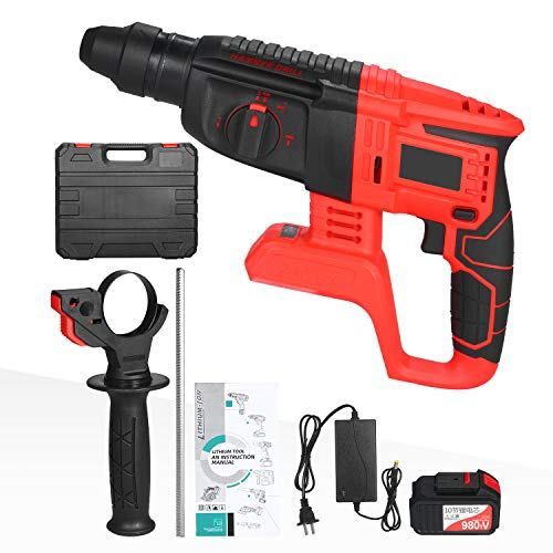 KKmoon 21V Cordless Rotary Hammer Drill,1 Inch SDS Plus Variable Speed Impact Hammer Kit,20000mAh Battery 4 Functions Variable-Speed Adjustable Handle with Storage Case