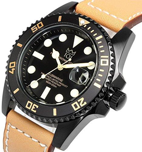 『[HYAKUICHI 101] ヒャクイチ ダイバーズ 20気圧防水 腕時計 ウォッチ レザーベルト ロングタイプ メンズ』の3枚目の画像
