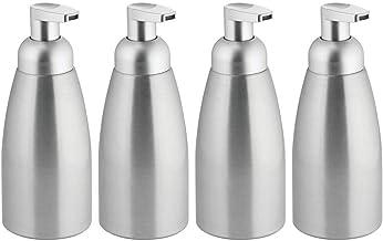 mDesign - Dispensador de jabón de espuma de metal moderno para encimera de cocina, lavabo, cuarto de servicio/lavandería, ...