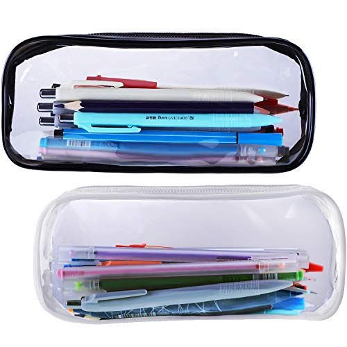 Tatuo Clear Pencil Case Makeup Pouch Big Capacity Bags with Zipper for Stationery Cosmetics Storage, Black and White (2 Pieces)