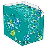 Pampers Fresh Clean Baby Feuchttücher, 1200 Tücher (15 x 80) Mit Frischem Duft, Dermatologisch Getestet, Baby Erstausstattung Für Neugeborene