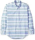 Amazon Essentials Men's Regular-Fit Long-Sleeve Stripe Pocket Oxford Shirt, Blue Horizontal, X-Large