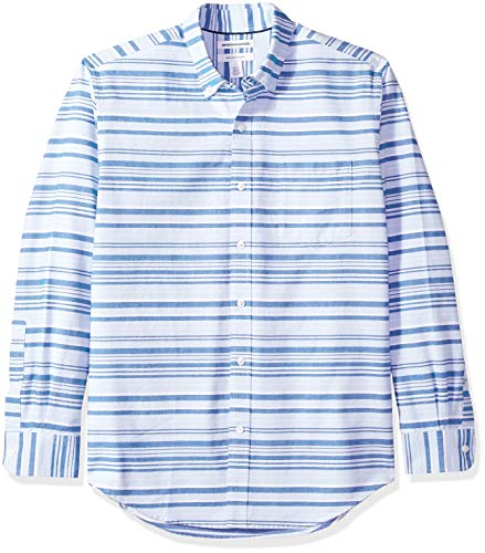 Amazon Essentials Men's Regular-Fit Long-Sleeve Stripe Pocket Oxford Shirt, Blue Horizontal, XX-Large