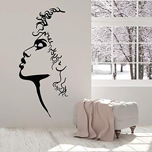 CDNY Wandaufkleber Profil Gesicht Kunst abstrakte Frau Porträt kreative Vinyl Fenster Aufkleber Mädchen Schlafzimmer Schönheitssalon Innendekoration 30x66cm