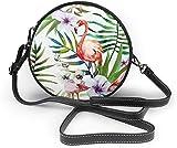 BAODANLA Bolso redondo mujer Hand Painte Tropical Nature Women Soft Leather Round Shoulder Bag Zipper Circle Purses Sling Bag
