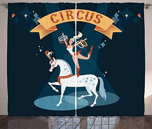 ABAKUHAUS Zirkus Rustikaler Gardine, Mädchen Tanzt auf einem Pferd, Schlafzimmer Kräuselband Vorhang mit Schlaufen und Haken, 280 x 245 cm, Mehrfarbig