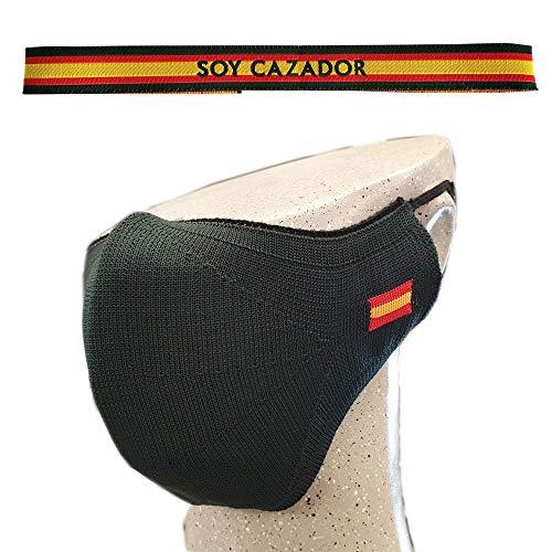 ALBERO Pack Cubrecara Verde Caza y Pulsera Soy Cazador. Cubrecara AITEX 2020TM1849. Bandera de España