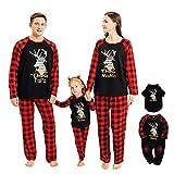 NCONCO Conjunto de ropa de Navidad para familia a juego de trajes de reno a cuadros pijamas para mascotas bebé niño mamá papá