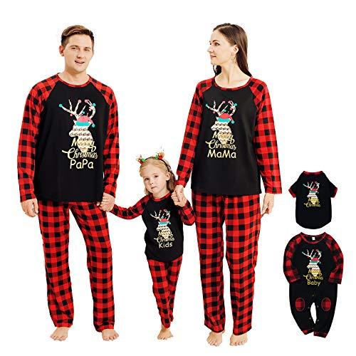 NCONCO Conjunto de ropa de Navidad para familia a juego de trajes de reno a cuadros pijamas para...