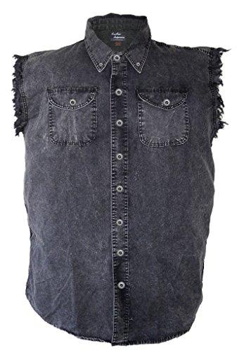 Leather Supreme Men's Acid Washed Charcoal Colored Denim Sleeveless Cutoff Biker Shirt-Charcoal-XL