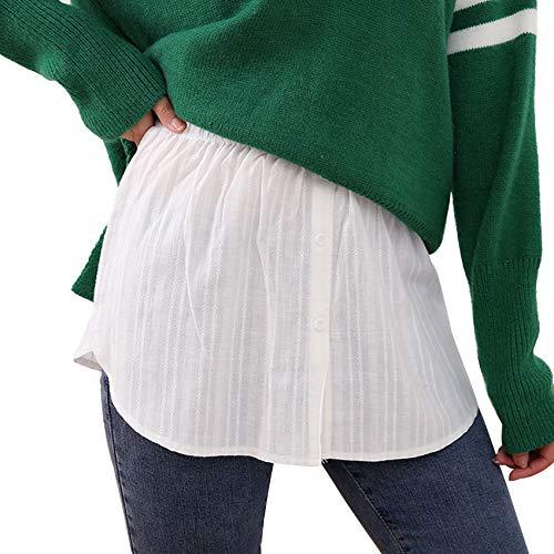 BestTas Damen Verstellbare Schichtung Fake Top Unterer Sweep Rock, Mini Skirt Shirt Extender Halblanger Splitting Hohe Taille Minirock für Pullover, Jacken (Für 137-165 Pfund, White)