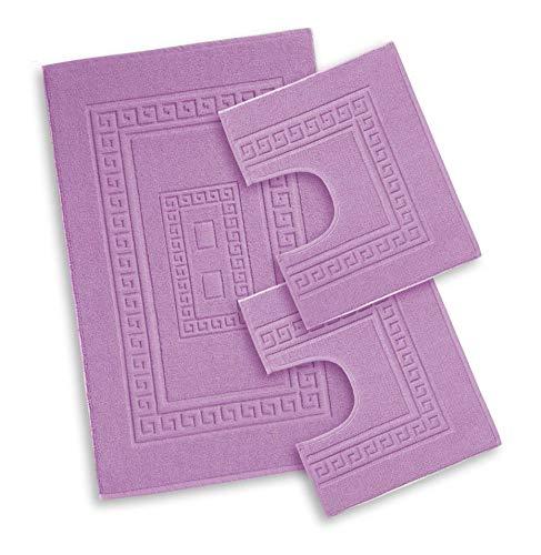 Centesimo Web Shop Tappeto Bagno in 4 Misure E 8 Colori Prodotto in Italia Misto Cotone SCENDIDOCCIA Classico - Set 3 Pezzi Lilla