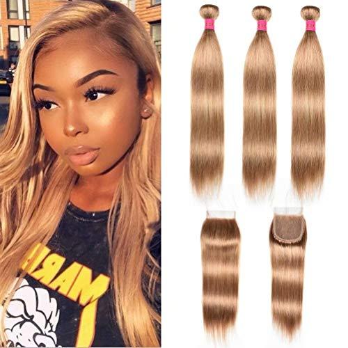 FEEL ME Peruvian Human Hair Bundles with Closure Honey Blonde Straight Hair Bundles with Closure Unprocessed Virgin Straight Peruvian Hair Weave Extension 3 Bundles with Closure #27(14 14 14+12)