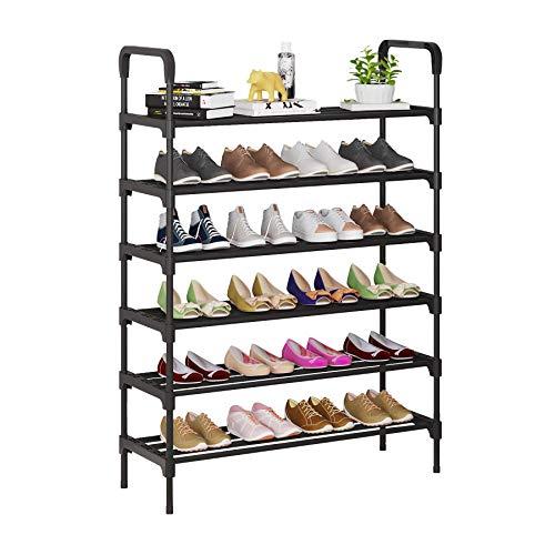 UDEAR Zapatero, Estante de Metal de 6 Niveles, estantes de Almacenamiento de pie con Capacidad para 24-28 Pares de Zapatos para Sala de Estar, Entrada, Pasillo y guardarropa, Negro