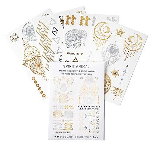 SPIRIT ANIMAL 4 Sheets Metallic Temporary Tattoos 36 Unique Designs for Women Girls Kids, Water Transfer Body Jewelry Tattoos