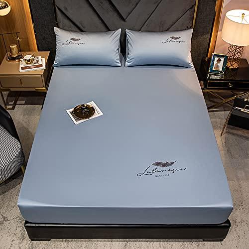 HAIBA Sábana bajera de lujo, 100 % algodón, suave, fácil de limpiar, sin arrugas y transpirable, para colchones, cama con somier, color azul claro, 150 x 200 cm + 28 cm