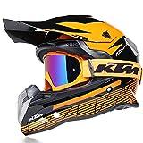 Casco Motocross,Adultos Cascos a Off-Road para Bicicleta de Montaña Enduro Todoterreno Motociclet con Gafas de Protección,Amarillo,L