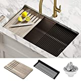 Kraus KGUW2-33MBR Bellucci Workstation Undermount Granite Composite Single Bowl Kitchen Sink with Accessories, 33 Inch, Metallic Brown