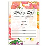 Bridal Shower Miss to Mrs Beautiful Tropical Watercolor Floral Fill-In-Style Blank Invitations with Envelopes ( Pack of 50 ) Large 5x7' Island Bloom Bride Wedding Party Excellent Value Invites VI0084