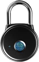 Fingerprint Padlock, Smart Padlock APP No Registration Needed, IP65 Weatherproof, MEGAFEIS Bluetooth Lock with Keyless Biometric Suitable for Gym, Sports, Bike, School, Cabinet and Storage(Black)