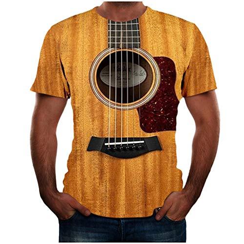EUZeo Herren T Shirt Schwarz Modern Cool 3D Gitarre Druck Mens Oversize Rundhalsausschnitt Printed Kurzarm T-Shirt Männer Basic Slim Fit Qualität Top Große Größen Bluse Hemd