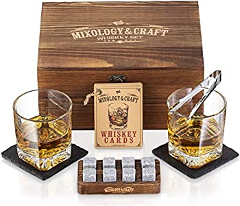 Whiskey Stones Gift Set for Men | Whiskey Glass and Stones Set with Wooden Box 8 Granite Whiskey Rocks Chilling Stones and 10oz Whiskey Glasses | Whiskey Lovers Gifts For Men Dad Husband Boyfriend
