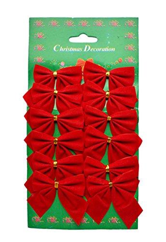 Helmecke & Hoffmann * rote samtige Zierschleifen Dekoschleifen im 12er Set Weihnachtsbaum-Deko Weihnachtsdeko Gesteckdeko