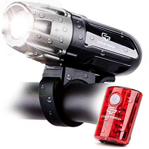Cycle Torch Shark 550R USB Rechargeable Bike Light Set, USB Tail Light Included, Easy On Easy Off, Compatible with Mountain, Kids, Street and Road Bicycles