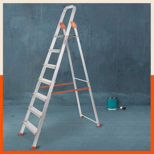 Bathla Advance Carbon - 7 Step Foldable Aluminium Ladder with Scratch Resistant Smart Platform and Sure-Hinge Technology (Orange)