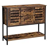 VASAGLE Storage Cabinet, Sideboard with 2 Drawers, 2 Cupboards, and Shelf, for Dining Room, Living Room, Kitchen, 100 x 35 x 84.5 cm, Industrial Style, Rustic Brown and Black LSC082B01