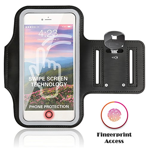 Sports Running Armband Case For iPhone 8 7 6 6S / 7 Plus / 6 Plus / 8 Plus ,JULAM Fingerprint Touch Supported Cell Phone Arm Band Waterproof Adjustable Reflective Velcro Card Key Holder 5.5 inch