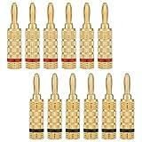 WGGE WG-3333 24k Gold Plated Speaker Banana Plugs-Closed Screw Type (6 Pairs (12 Plugs))